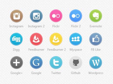 آیکون شبکه های اجتماعی و رسانه ها دایره شکل در PSD و PNG