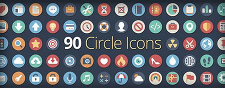 مجموعه 90 آیکون Flat با نام Circle icons