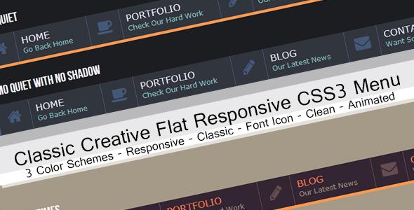 منوی افقی کلاسیک CSS3 به صورت Flat