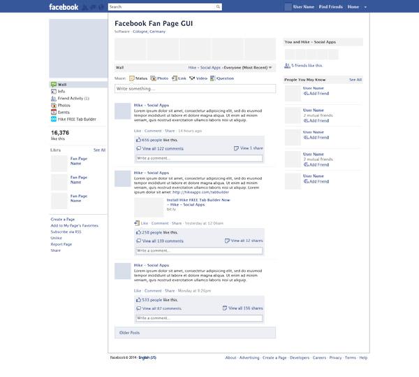 قالب لایه باز PSD صفحه فیسبوک