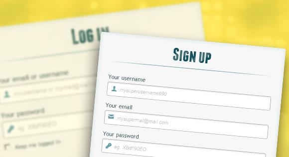 فرم عضویت و login به صورت HTML5 و CSS3