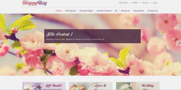 پوسته مدرن فروشگاه گل Happyday برای جوملا