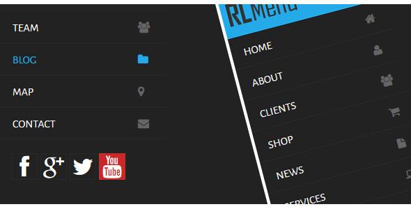 منوی RLMenu بسیار زیبای عمودی به صورت CSS3