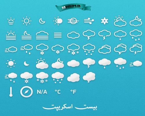 دانلود مجموعه از آیکون های وضعیت آب و هوا