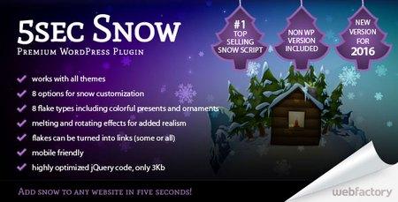 افزونه افکت بارش برف و جشن کریسمس 5sec Snow