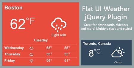 اسکریپت jQuery نمایش وضعیت آب و هوا Flat Weather