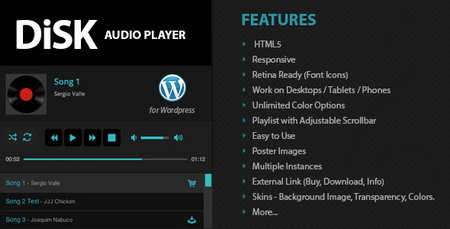 افزونه وردپرس پخش موسیقی Disk Audio Player نسخه 1.6.4