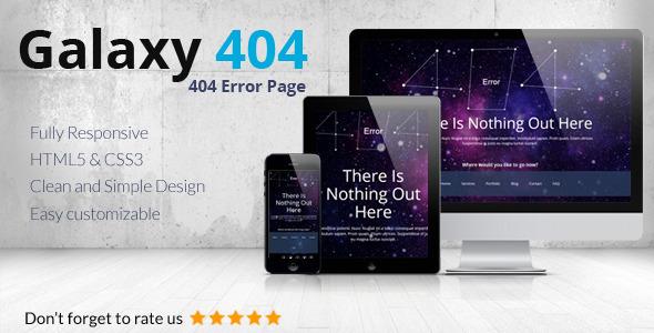 قالب زیبای صفحه 404 ریسپانسیو Galaxy404