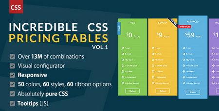 اسکریپت جداول پیشرفته Incredible CSS Pricing Tables