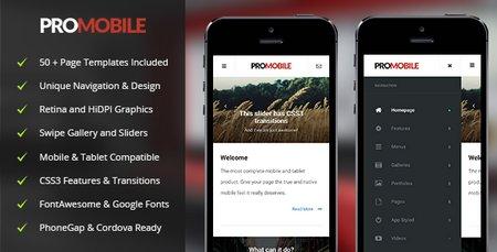 دانلود قالب HTML ویژه موبایل و تبلت ProMobile