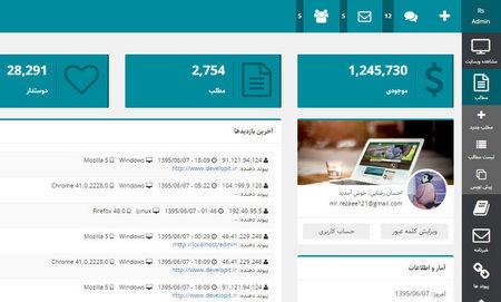 قالب HTML مدیریت وب سایت RSadmin فارسی