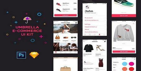دانلود عناصر طراحی وب سایت فروشگاهی Umbrella UI Kit