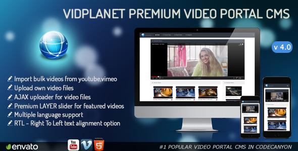 Vidplanet Premium Video Portal Cms اسکریپت پرتال مدیریت ویدئو با Vidplanet نسخه 4