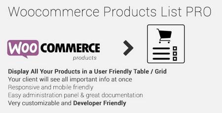 افزونه نمایش لیست محصولات ووکامرس Woocommerce Products List Pro