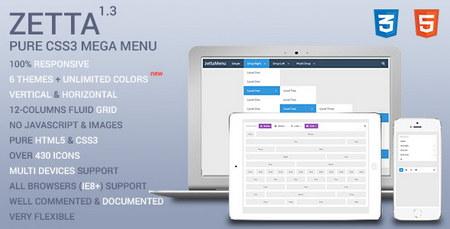 اسکریپت منو های بسیار زیبا و آماده Zetta به صورت CSS3