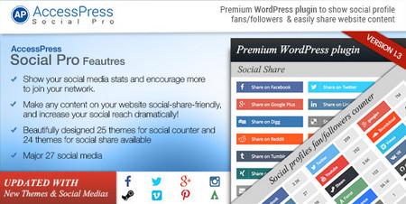 افزونه دکمه های اشتراک گذاری حرفه ای وردپرس AccessPress Social Pro