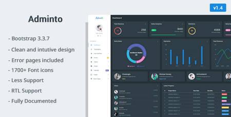 قالب HTML مدیریت وب سایت Adminto