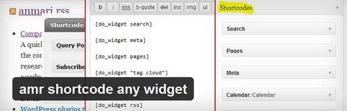 افزونه درج ابزارک در برگه و مطلب وردپرس amr shortcode any widget