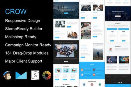 قالب ایمیل شرکتی و میزبانی وب Crow به صورت HTML