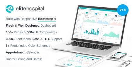 قالب HTML مدیریت وب سایت بیمارستان Elite Hospital