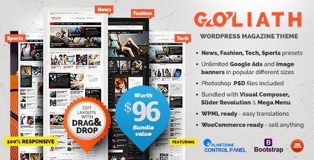 دانلود قالب مجله خبری GOLIATH نسخه ۱٫۰٫۲۳ برای وردپرس