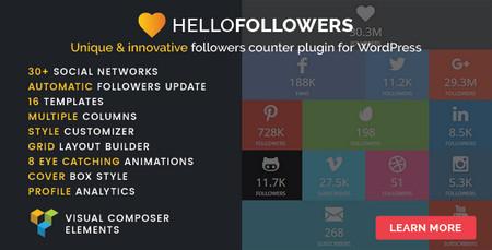 افزونه نمایش تعداد دنبال کنندگان شبکه های اجتماعی Hello Followers