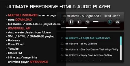 پلیر صوتی با قابلیت نمایش لیست پخش به صورت HTML5