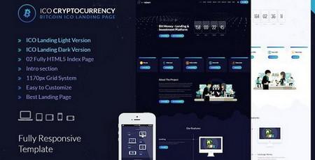 دانلود قالب HTML صفحه فرود بیت کوین ICO Cryptocurrency