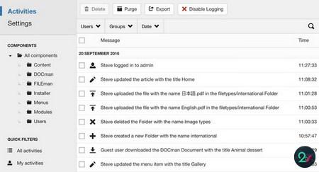 افزونه گزارشگیری و ثبت فعالیت های کاربران در جوملا LOGman همراه افزودنی ها