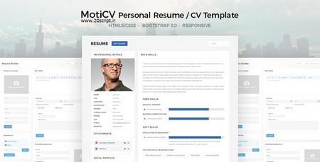 دانلود قالب HTML رزومه کاری و نمونه کار MotiCV