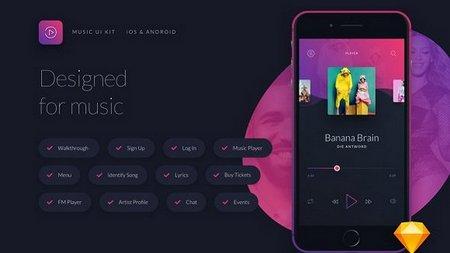 دانلود عناصر طراحی اپ موزیک Music UI/UX Mobile App Kit