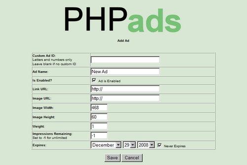 اسکریپت رایگان مدیریت تبلیغات PHPads