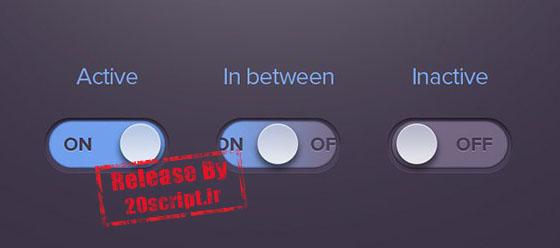 طرح لایه باز دکمه های رادیویی روشن / خاموش