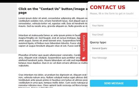اسکریپت فرم تماس کشویی Sliding Contact Form