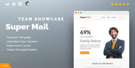 قالب HTML ایمیل و خبرنامه SuperMail Team Showcase همراه با صفحه ساز آنلاین