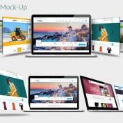 2 طرح لایه باز موکاپ و پیش نمایش مک بوک شرکت اپل
