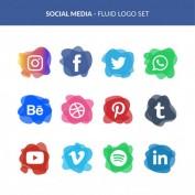 طرح لایه باز مجموعه آیکون های شبکه های اجتماعی
