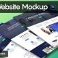 طرح لایه باز موکاپ و پیش نمایش وب سایت با فرمت PSD برای فتوشاپ