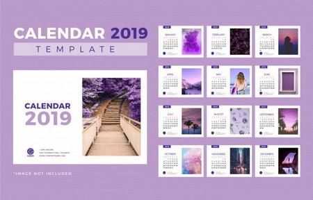 دانلود طرح لایه باز تقویم رومیزی 2019