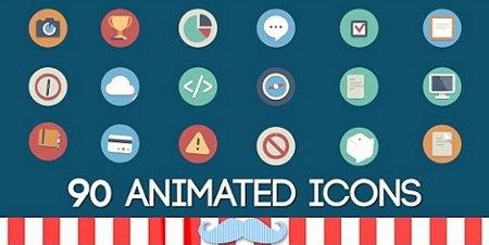 دانلود پکیج 90 آیکون متحرک به صورت افتر افکت Animated Icons Pack