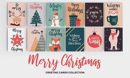 مجموعه طرح وکتور کارت تبریک عید و کریسمس برای فتوشاپ و ایلاستریتور
