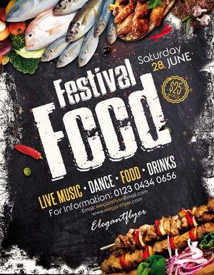 طرح لایه باز پوستر جشنواره های غذایی با فرمت PSD