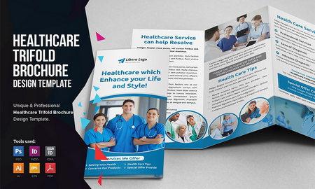 دانلود طرح لایه باز بروشور سه لت بهداشت و درمان 2