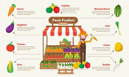 طرح وکتور اینفوگرافیک فروشگاه میوه و سبزیجات ارگانیک به صورت لایه باز