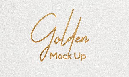 دانلود موکاپ لوگو طلایی روی کاغذ به صورت لایه باز
