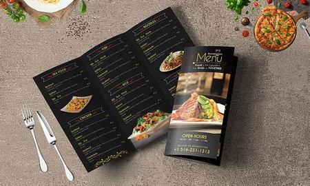 طرح لایه باز بروشور سه لت منوی رستوران با فرمت PSD