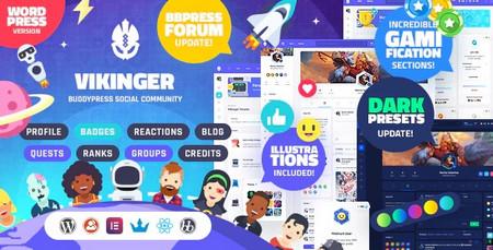 دانلود قالب Vikinger   قالب شبکه اجتماعی برای وردپرس
