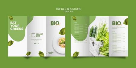 دانلود طرح لایه باز بروشور 3 لتی غذا های گیاه خواری