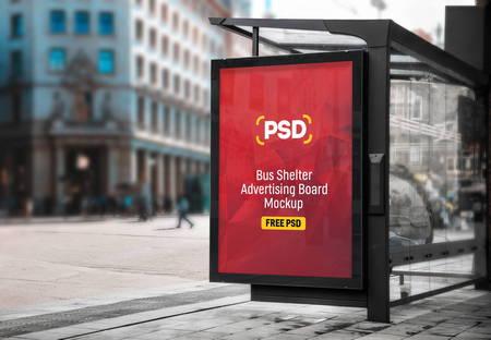 دانلود طرح لایه باز بیلبورد تبلیغاتی در ایستگاه اتوبوس