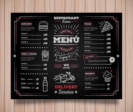 دانلود طرح لایه باز منو رستوران با طرح سیاه و سفید